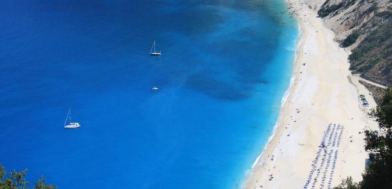 Myrtos beach in Divarata Kefalonia