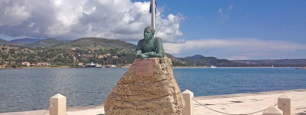 Nikos Kavadias Statue in Argostoli Kefalonia